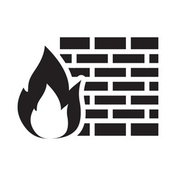 cyber security concept, firewall symbol, fire flame and wall over white background, silhouette style, vector illustration