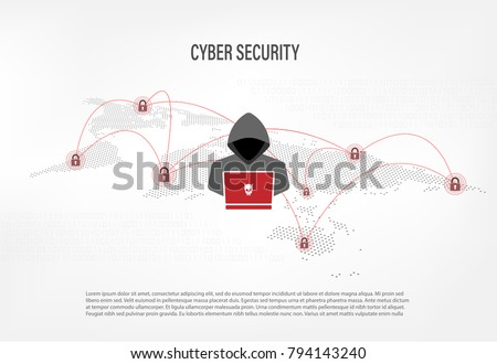Cyber Security Concept : Hacker on world map digital background
