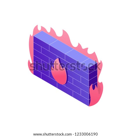 Cyber security concept illustration in 3d design. Firewall isometric design illustration isolated on white background. Data protection Infographic and web element. Stock photo ©
