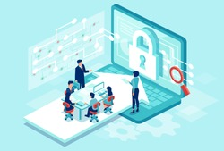 Cyber security concept. Isometric vector of a team working designing new software to protect personal data