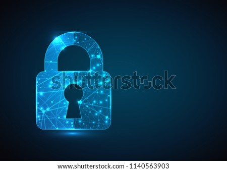 Cyber security concept. Lock symbol from lines and triangles, point connecting network on blue background. Vector business wireframe concept.