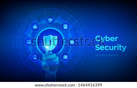 Cyber Security. Data protection business concept on virtual screen. Shield protect icon. Internet privacy and safety. Antivirus interface. Robotic hand touching digital interface. Vector illustration. Zdjęcia stock ©