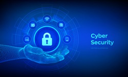 Cyber Security. Data protection concept on virtual screen. Padlock With Keyhole icon in robotic hand. Internet privacy and safety. Antivirus interface. Vector illustration.