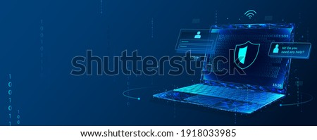 Cyber security, data protection, cyberattacks concept on blue background. Database security software development. Online security concept. Laptop protected with shield. Vector illustration