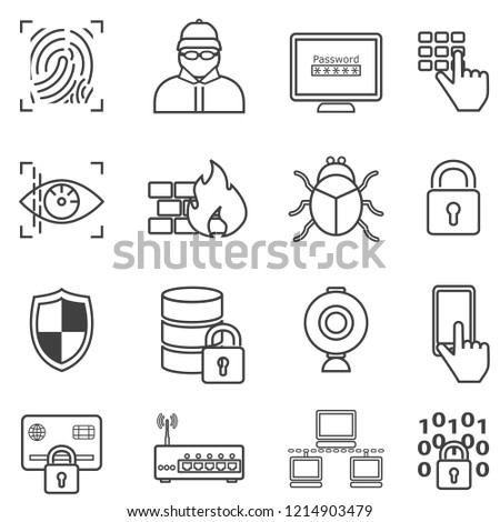 Cyber security, data protection, hacker and malware line web icon set