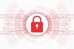 Cyber security. design of internet network locking red color on white background.vector illustration
