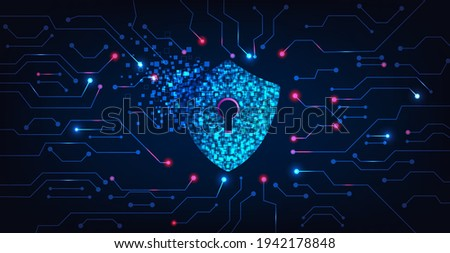 Cyber security destroyed.Shield destroyed on electric circuits  network dark blue.Cyber attack and Information leak concept.Vector illustration.