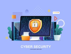 Cyber security flat concept with gradients. Firewall software, password identification and privacy web template. Cybersecurity consultation, digital safety solution 3d composition, vector illustration
