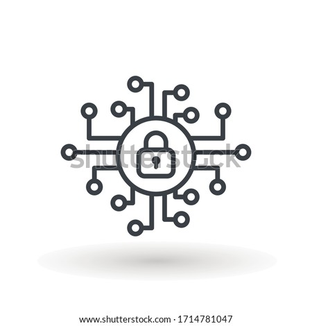 cyber security icon design, vector illustration graphic Security logo Artificial Intelligence Keyhole icon speed internet technology.