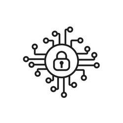 Cyber security icon vector. Security logo Artificial Intelligence Keyhole symbol speed internet technology sign for graphic design, logo, web site, social media, mobile app, ui illustration