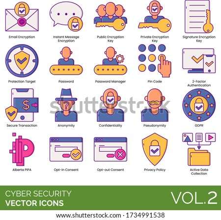 cyber security icons including
