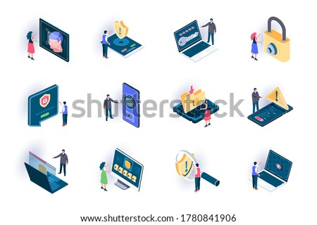 Cyber security isometric icons set. Secure of information flat vector illustration. Internet privacy, password access, firewall and identification 3d isometry pictograms with people characters.