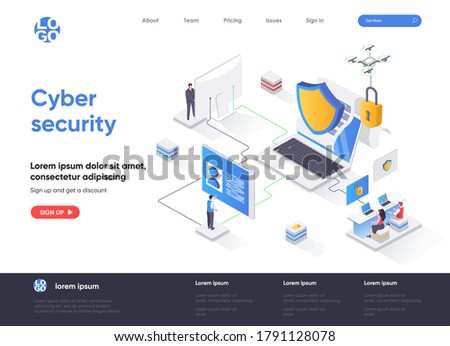 Cyber security isometric landing page. Internet privacy, password access, firewall software and identification isometry web page. Website flat template, vector illustration with people characters.