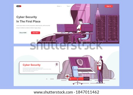 Cyber security landing pages set. Cybersecurity assistance and management corporate website. Flat line vector illustration with people characters. Web concept use as header, footer or middle content. Foto stock ©