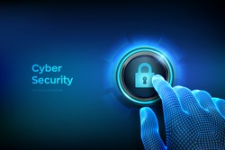Cyber security. Protect and security of safe concept. Cyber data protection and information privacy. Closeup finger about to press a button with lock symbol. Just push the button. Vector illustration.
