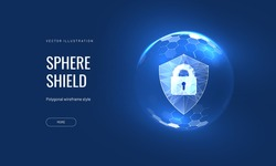 Cyber security, shield lock in futuristic polygonal style. Concept of internet privacy or cyber protection on the background of the world map. 3d vector illustration