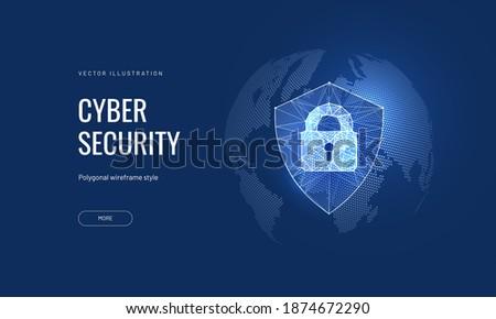 cyber security  shield lock in