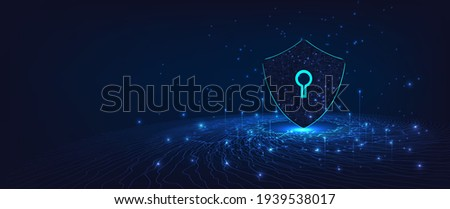 Cyber security.Shield symbol on dark blue background.Illustrates cyber data security.Vector illustration 3D protection.