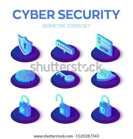 Cyber Sequrity icons set. 3D isometric data protection icons. Personal data protection. Authorization form, password, sequrity shield, key, lock, fingerprint, vpn Vector illustration.