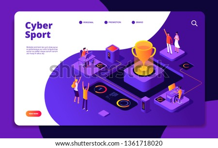 Cyber sport. Esports stream online video game gamer tournament computer console 3d games competitive market vector landing page