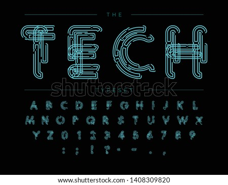 Cyber Tech Font. Contour scheme style vector alphabet. Letters and numbers for digital product, security system logo, banner, monogram and poster. Typeset design.