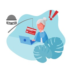 Cyber Thief (hacker) use Fishing Rod Phishing the Credit Card on Computer Laptop from Elderly Woman. Scam, Fraud, Phishing and Hacking attack concept. Cartoon Flat Vector Illustration.
