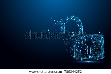 Cyber Unlock security concept. Lock symbol form lines and triangles, point connecting network on blue background. Illustration vector