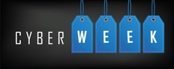 cyber week sale banner with blue tags vector illustration EPS10
