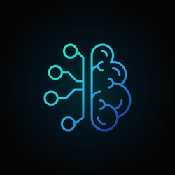 Cyberbrain line blue icon. Vector artificial intelligence brain concept thin line sign on dark background