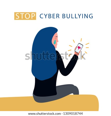 Cyberbullying, bullying using electronic means, online pressure. Dislike, parting, disappointment, depression, sadness, social media - Vector
