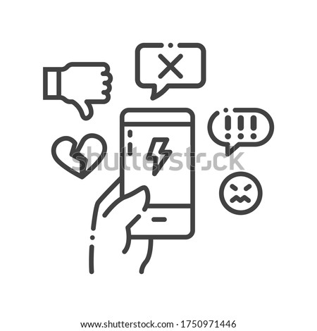 Cyberbullying victim hand holding smartphone black line icon. Abuse, internet, hate concept. Social media insult. Sign for web page, mobile app, button, logo. Editable stroke. Stock photo ©