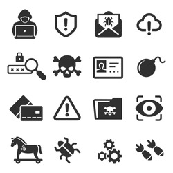 Cybercrime icons set. Cyber hackers attacks on computers vector illustration