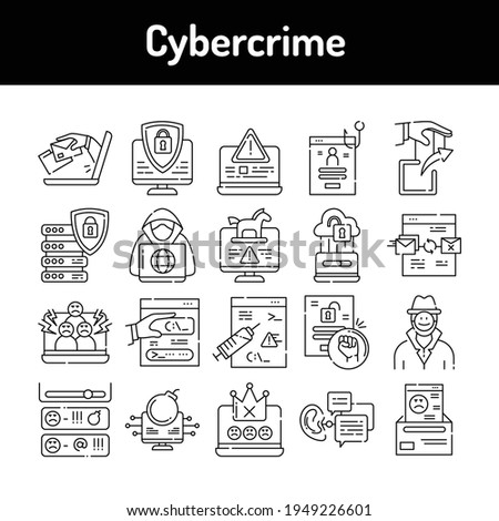 Cybercrime line black icons set. Isolated vector element. Outline pictograms for web page, mobile app, promo. Editable stroke. Stock photo ©