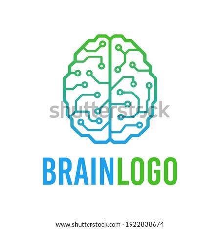 Cybernetic brain microchip logo. Artificial intelligence emblem. Digital electronic robot brain.  Stockfoto ©