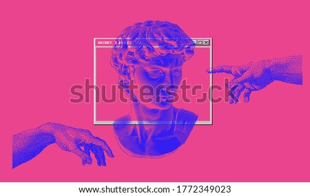 Cyberpunk and vaporwave style art collage with hands and bust on pink background. Pixel art 8-bit retro illustration.