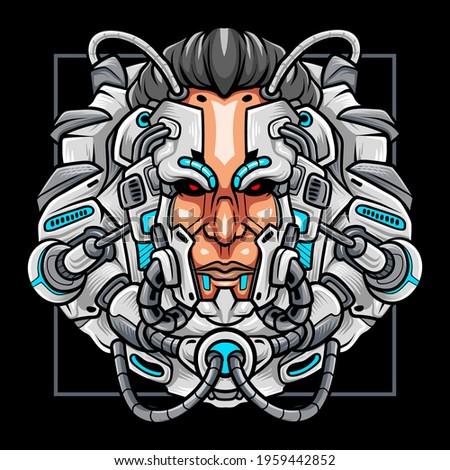 cyberpunk head robot mascot