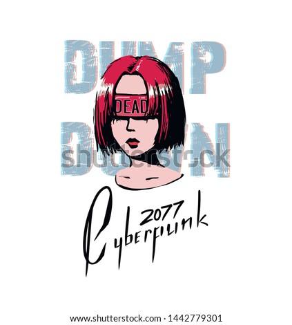 cyberpunk style art for t shirt