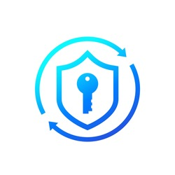 Cybersecurity, access and data protection icon with shield and key