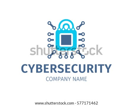 Cybersecurity - logo, icon on white background