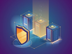 Cybersecurity. Protection network security and safe your data concept. Digital crime. Anonymous hacker. Web page design templates. Isometric vector illustration