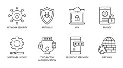 Cybersecurity vector icons. Set of 8 symbols with editable stroke. Network security antivirus VPN privacy. 2fa (two-factor authentication) password strength firewall software update