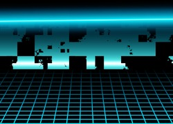 Cyberspace Background, Digital Surface, Futuristic Retro Scene with Abstract 3D Neon Glow Lights and Technology Grid Lines. Cosmic Landscape. Sci-Fi Cyber Style. Eps10 Vector Illustration - Vector