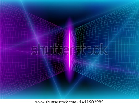 Cyberspace Futuristic Grid Lines with Neon 3D Glow Lights and Flash Effect, Abstract Background Tomorrow Aesthetic Digital Style, Space Technology Grids, Eps10 Vector Illustration - Vector