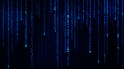 cyberspace with blue falling numbers, abstract background
