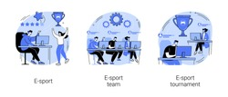 Cybersport abstract concept vector illustration set. E-sport team and tournament, multiplayer video game, esports championship, gaming arena, online sport, player fan support abstract metaphor.