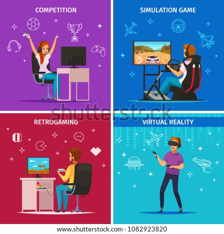Cybersport playing characters 4 cartoon icons square concept with competitive computer simulation sport games isolated vector illustration