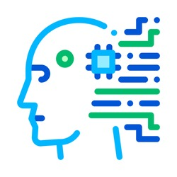 Cyborg Artificial Intelligence Vector Sign Icon Thin Line. Artificial Intelligence Details Character Robot Head And Microchip Linear Pictogram. Fingerprint, Microchip, Assembly Contour Illustration