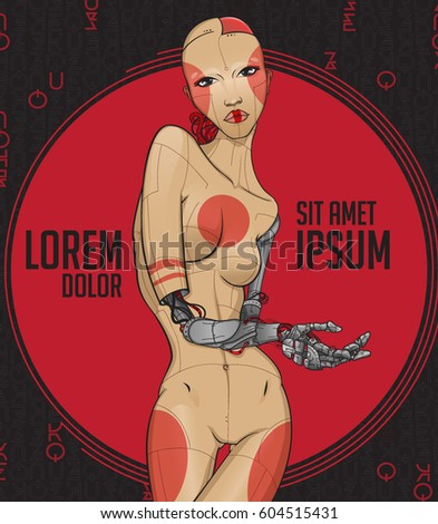 cyborg girl with mechanical