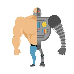 Cyborg. Half human moiety robot. Man with big muscles and iron limbs. Cyber-man of future.