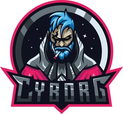 cyborg smoking vector illustration premium